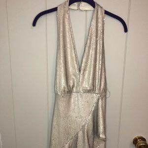 Cream Sequin Halter Dress